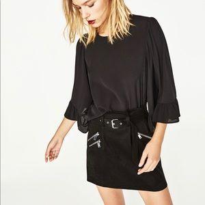 Zara Basic Collection Black Bell Sleeve Blouse